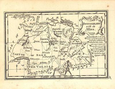 1774 Switzerland Antique Map Original by Reynold Jay