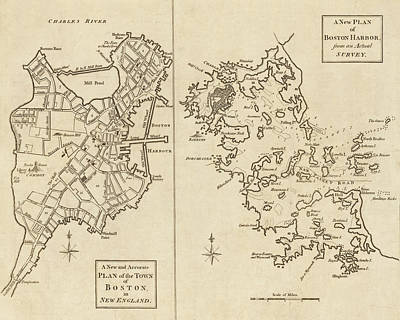Boston Ma Digital Art - 1775 City Planner Map Of Boston And Boston Harbor by Toby McGuire
