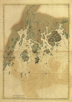 The Maine Drawing - 1776 Maine Coast Map by Dan Sproul