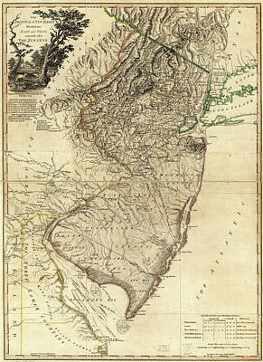Photograph - 1778 Nj Map by Mark Miller