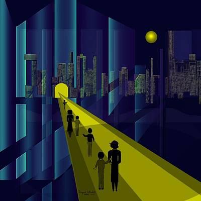 Digital Art - 178 - Nightwalking To The Golden City    by Irmgard Schoendorf Welch
