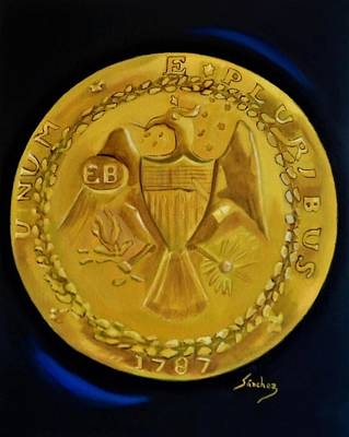 Painting - 1787 Brasher Doubloon by Manuel Sanchez