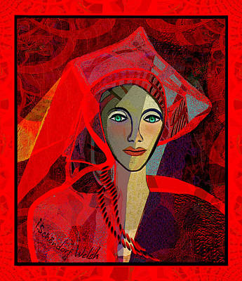 Digital Art - 1791 - Lady In Red 2017 by Irmgard Schoendorf Welch