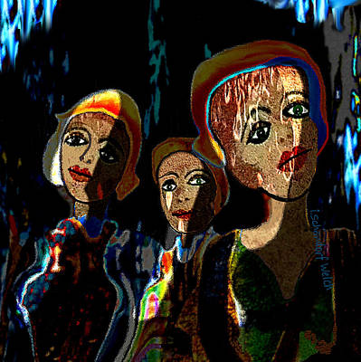 Digital Art - 1797 - Three Young Girls 2017 by Irmgard Schoendorf Welch