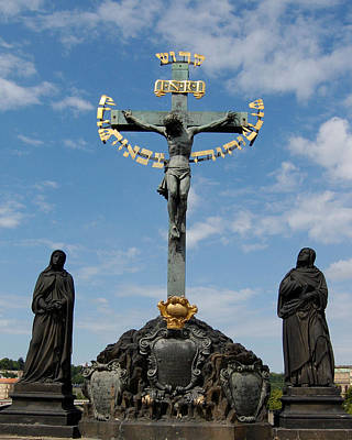 17th Century Crucifix Charles Bridge Prague Czech Republic Art Print by Wayne Higgs