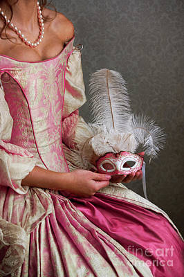 Photograph - 17th Century Georgian Woman With Ball Gown And Carnival Mask  by Lee Avison