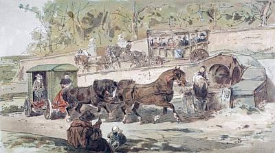 Seventeenth Century Drawing - 17th Century Transport Scene. A Public by Vintage Design Pics