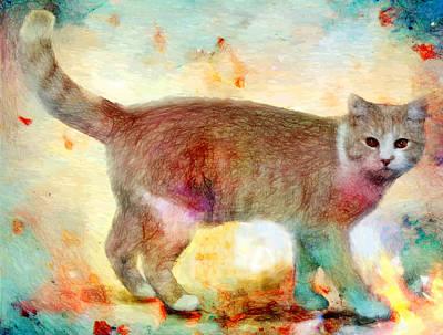 Animal Digital Art - Cats by Elena Kosvincheva
