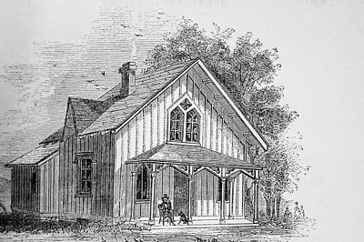 19 Century Farmhouse With Dog On Front Poarch Print by Douglas Barnett
