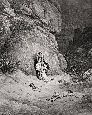 Hunger Drawing - Engraving From The Dore Bible by Vintage Design Pics