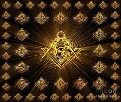 Trowels Digital Art - Freemason Symbolism by Pierre Blanchard