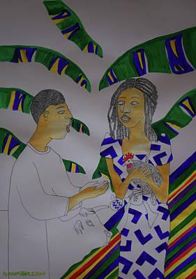 Painting - Kintu And Nambi A Ugandan Folktale by Gloria Ssali