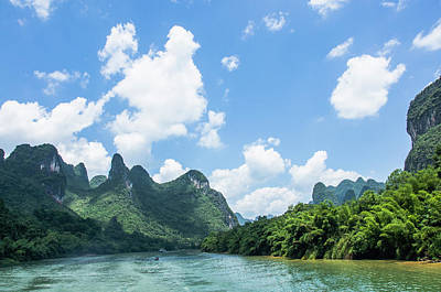 Lijiang River And Karst Mountains Scenery Art Print