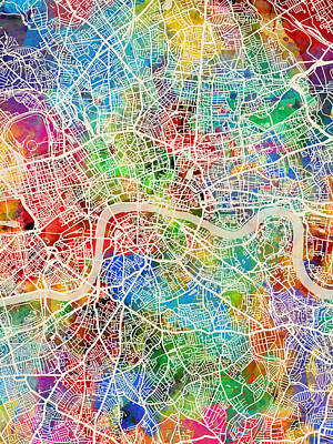 England Digital Art - London England Street Map by Michael Tompsett