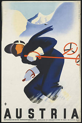 Skiing Poster Painting - Public Domain Images by MotionAge Designs