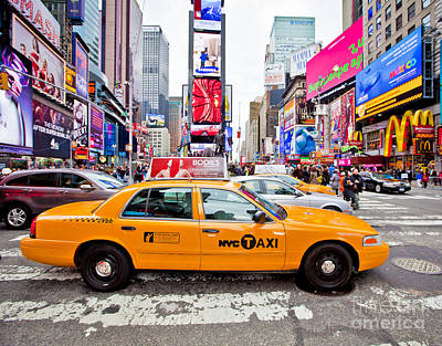 Speeding Taxi Photograph - Times Square by Stuart Monk