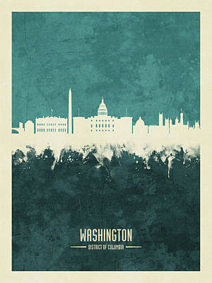 Digital Art - Washington Dc Skyline by Michael Tompsett