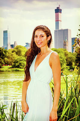 Photograph - Young American Woman Traveling, Relaxing At Central Park, New Yo by Alexander Image