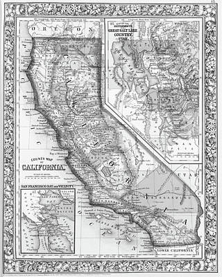 Digital Art - 1800s California Historical Map Black And White by Toby McGuire
