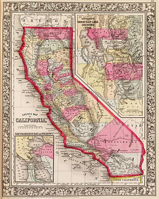 Digital Art - 1800s California Historical Map by Toby McGuire