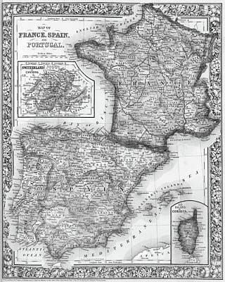 County Map Digital Art - 1800s France, Spain And Portugal County Map Black And White by Toby McGuire
