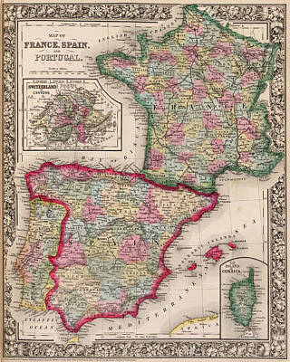 County Map Digital Art - 1800s France, Spain And Portugal County Map Color by Toby McGuire