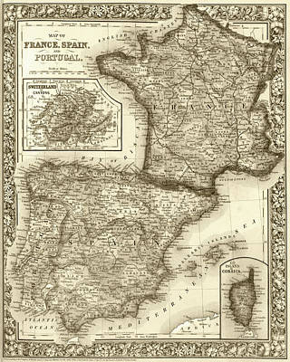 Digital Art - 1800s France, Spain And Portugal County Map Sepia by Toby McGuire
