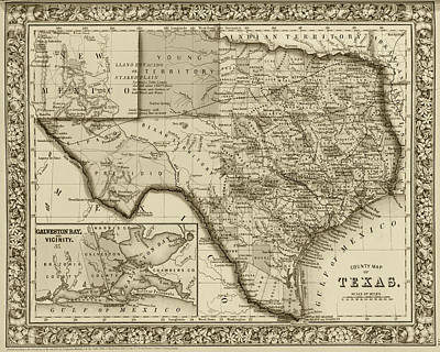 Photograph - 1800s Historical Map Of Texas In Sepia by Toby McGuire