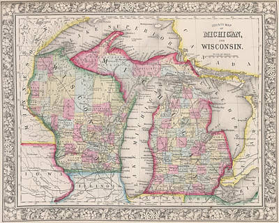Digital Art - 1800s Historical Michigan And Wisconsin Map Color by Toby McGuire