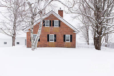 Photograph - 1800s New England Brick Farm House In Winter by Edward Fielding