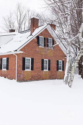Photograph - 1800s New England Brick Farm House In Winter Vert by Edward Fielding