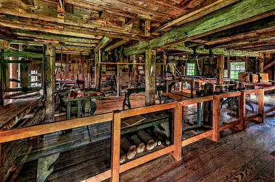 Photograph - 1800s New England Machine Shop  -  Mid1800snemachineshop184513 by Frank J Benz