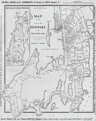 Digital Art - 1800s Vintage Map Of Newport Ri Rhode Island Black And White by Toby McGuire