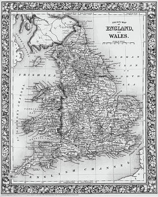 Digital Art - 1800s Wales County Map Wales England Black And White by Toby McGuire