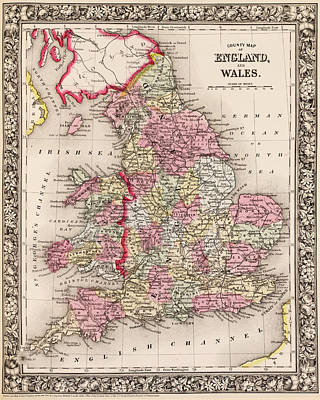 Digital Art - 1800s Wales County Map Wales England Color by Toby McGuire