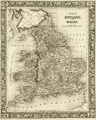 Digital Art - 1800s Wales County Map Wales England Sepia by Toby McGuire
