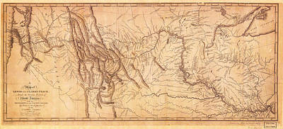 Antique Map Painting - 1804-1806 Map Of The Lewis And Clark Expedition by Celestial Images