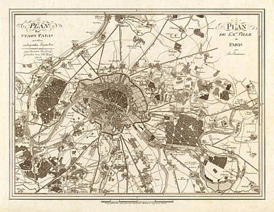 Painting - 1805 Paris Map by Gary Grayson