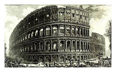 Drawing - 1810 Italian Etching Of The Ruins Of The Roman Colosseum Francesco Piranesi by Peter Gumaer Ogden