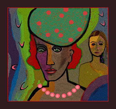 Digital Art - 1814 - Headstrong Lady With Hat And Pearls 2017 by Irmgard Schoendorf Welch
