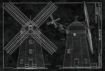Long Island Digital Art - 1820 Beebe Windmill Of New York Blueprint by Daniel Hagerman