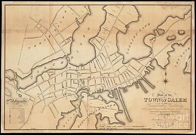 Drawing - 1820 Map Of Salem, Massachusetts by Lita Kelley