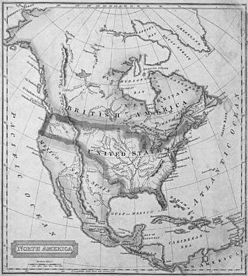 Antique Map Digital Art - 1822 Map Of North America Black And White by Toby McGuire