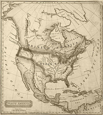 Antique Map Digital Art - 1822 Map Of North America Sepia by Toby McGuire