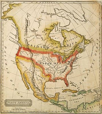 Antique Map Digital Art - 1822 Map Of North America by Toby McGuire