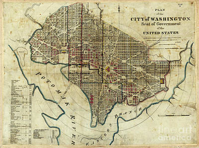 1822 Map Of Washington Dc Art Print by Jon Neidert