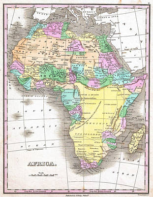 Antique Map Painting - 1827 Finley Map Of Africa by Celestial Images