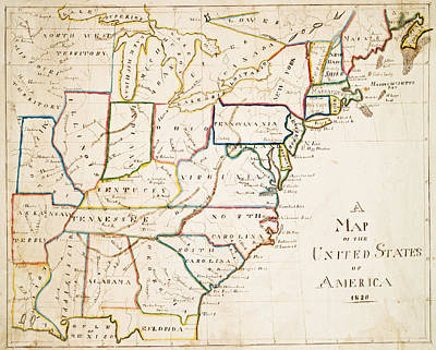 Digital Art - 1830 Map Of The United States Color by Toby McGuire