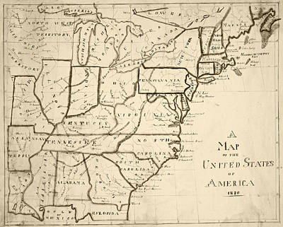 Digital Art - 1830 Map Of The United States Sepia by Toby McGuire