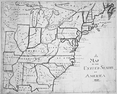 Digital Art - 1830 Map Of The United States by Toby McGuire